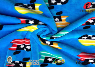 China Custom Printed 95% Polyester 5% Spandex Velvet Fabric , Super Soft Knit Fleece Fabric supplier
