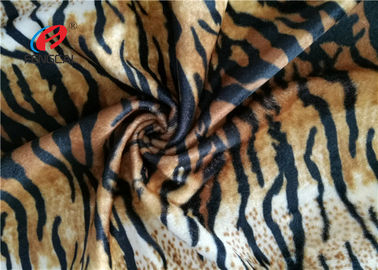 China Tiger Stripe Velboa 100% Polyester Velvet Fabric , Animal Print Faux Fur Fabric supplier