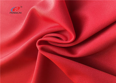 Swimming Stretch Polyester Spandex Fabric , Red Color Polyester Lycra Fabric