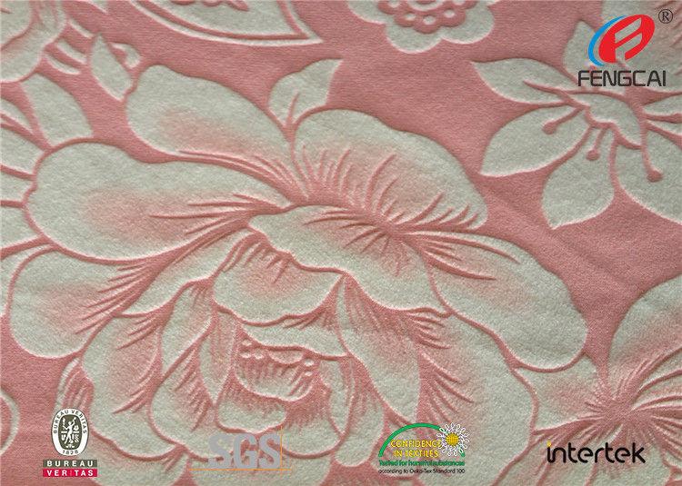 Anti Static 100 Polyester Sofa Velvet Upholstery Fabric Embossed