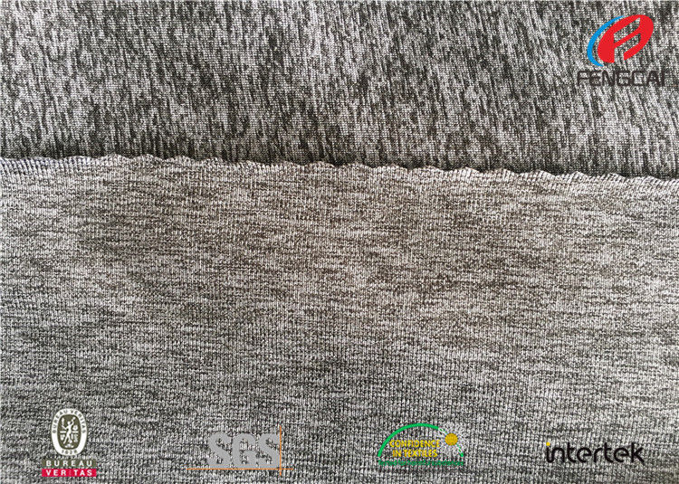 e920aa5371 Blend Polyester Jersey Melange Knit Fabric , Luon Fabric 280GSM