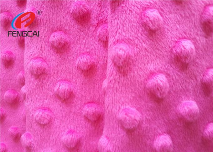 100% Polyester Minky Plush Fabric / Minky Dot Blanket Fabric For Making Baby Blankets