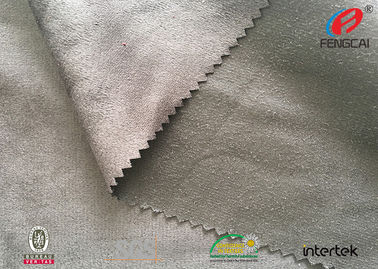 China Warp Knitting Microfiber Suede Upholstery Fabric , Silver Poly Suede Fabric distributor