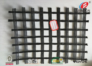 China Durable Polyester Geogrid Reinforcing Fabric High Tensile Strength BLACK factory