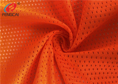 China Bright Orange 100 Polyester Mesh Fabric , Reflective Safety Material For Police Uniform factory