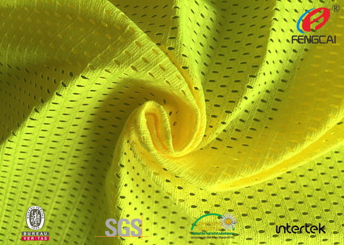 Breathable Tricot Knitted Safety Yellow Fabric Fluorescent Cloth Free Sample
